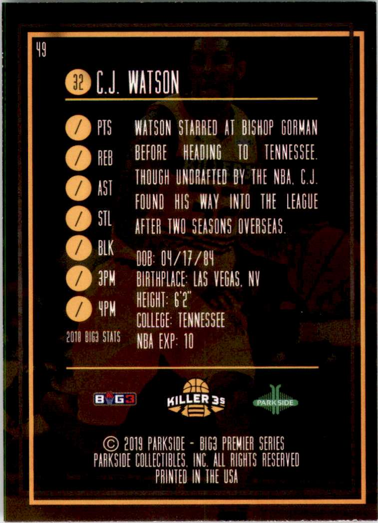 2019-20 Parkside BIG3 C.J. Watson #49 card back image