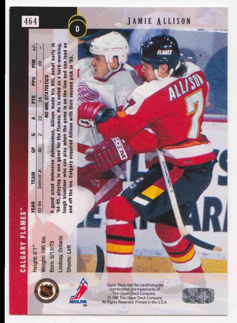 1994-95 Upper Deck Jamie Allison #464 card back image