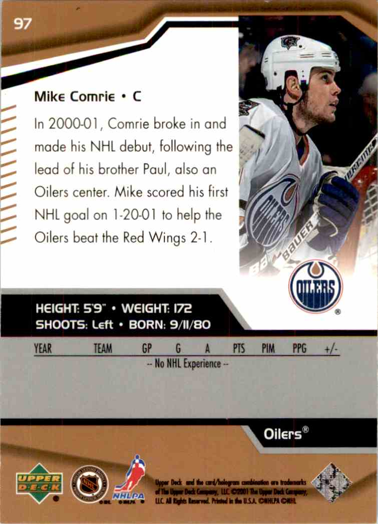 2000-01 Upper Deck Black Diamond Mike Comrie #97 card back image