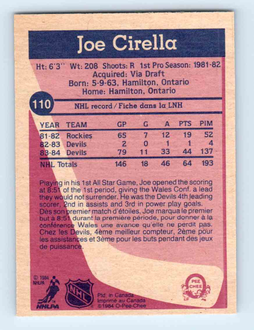 1984-85 O-Pee-Chee Joe Cirella #110 card back image