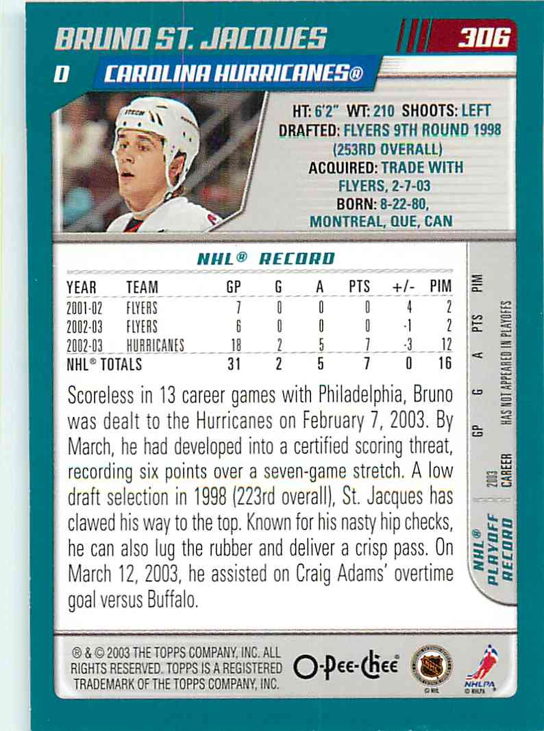 2003-04 Topps O-Pee-Chee Brund St.Jacques #306 card back image