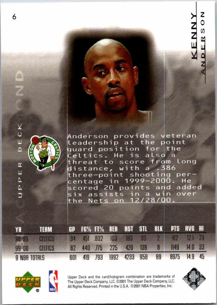 2000-01 Upper Deck Black Diamond Kenny Anderson #6 card back image