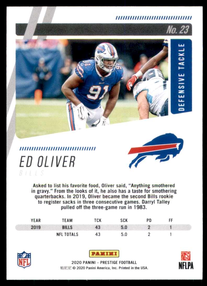 2020 Prestige Ed Oliver #23 card back image