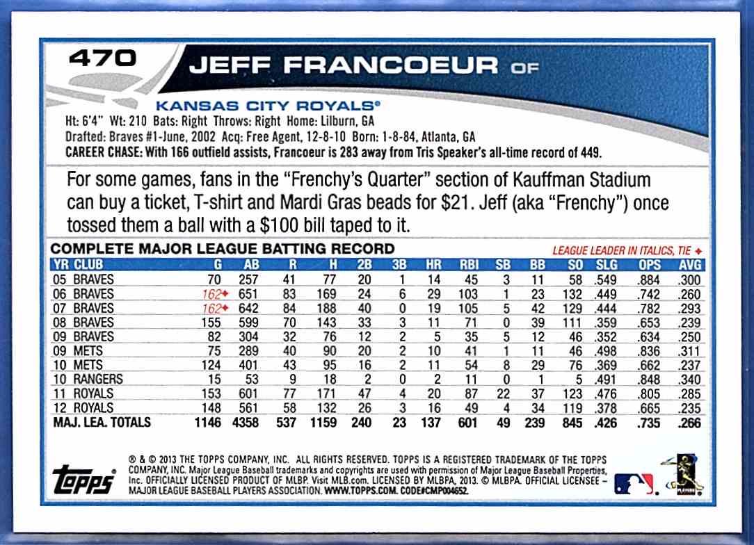 2013 Topps Jeff Francoeur #470 card back image