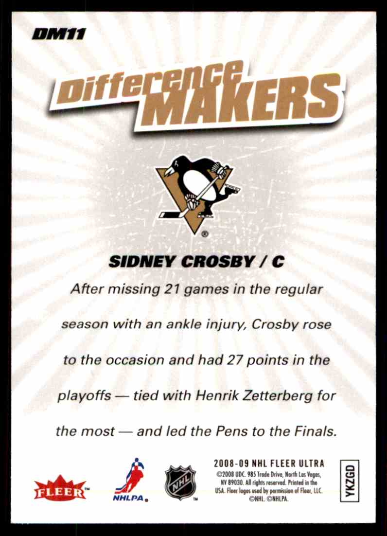2008-09 Ultra Difference Makers Sidney Crosby #DM11 card back image