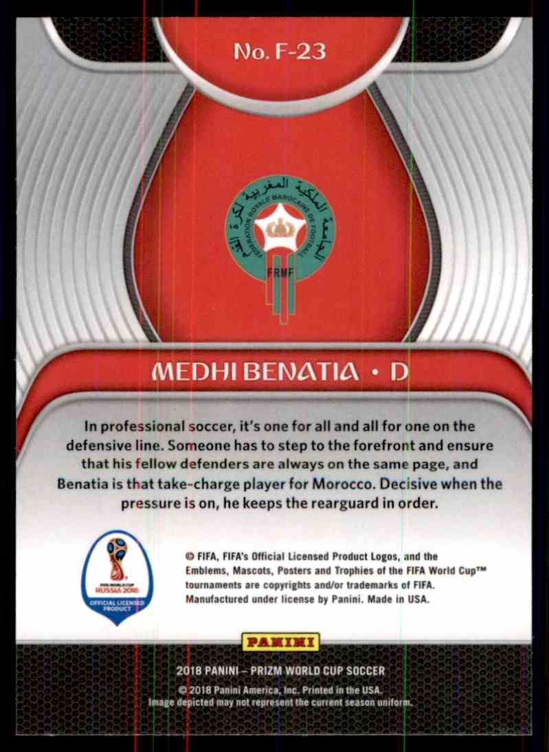 2018 Panini Prizm World Cup Fundamentals Medhi Benatia #23 card back image