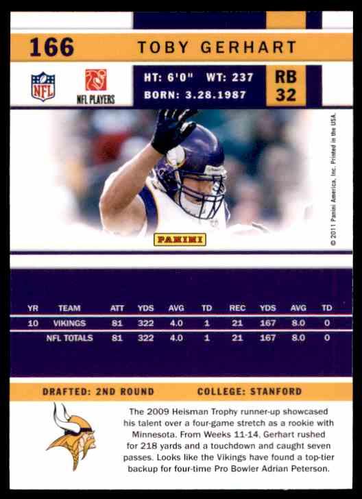 2011 Score Toby Gerhart #166 card back image