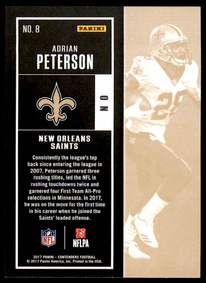 2017 Panini Contenders Adrian Peterson #8 card back image