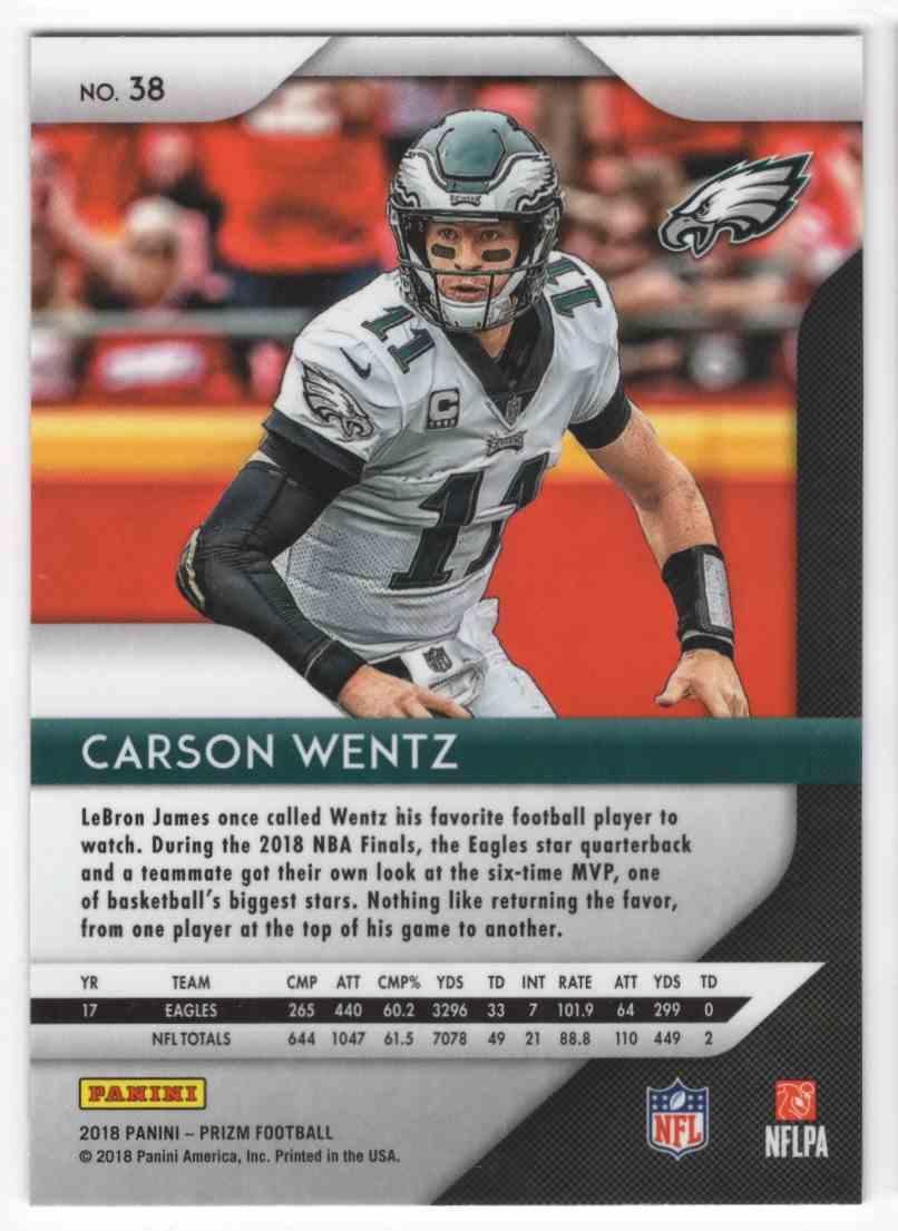 2018 Panini Prizm Carson Wentz #38 card back image