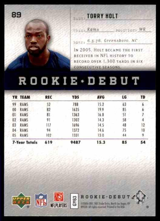 2006 Upper Deck Rookie Debut Torry Holt #89 card back image