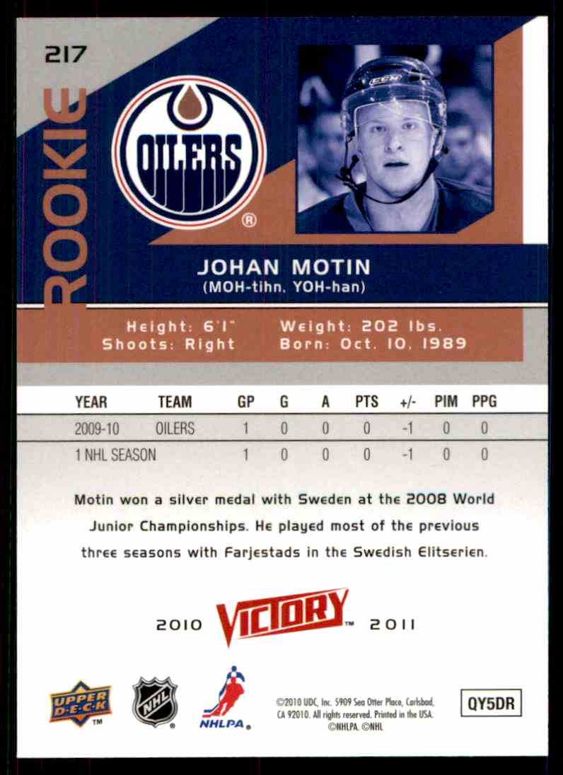 2010-11 Upper Deck Victory Rookie Johan Motin #217 card back image