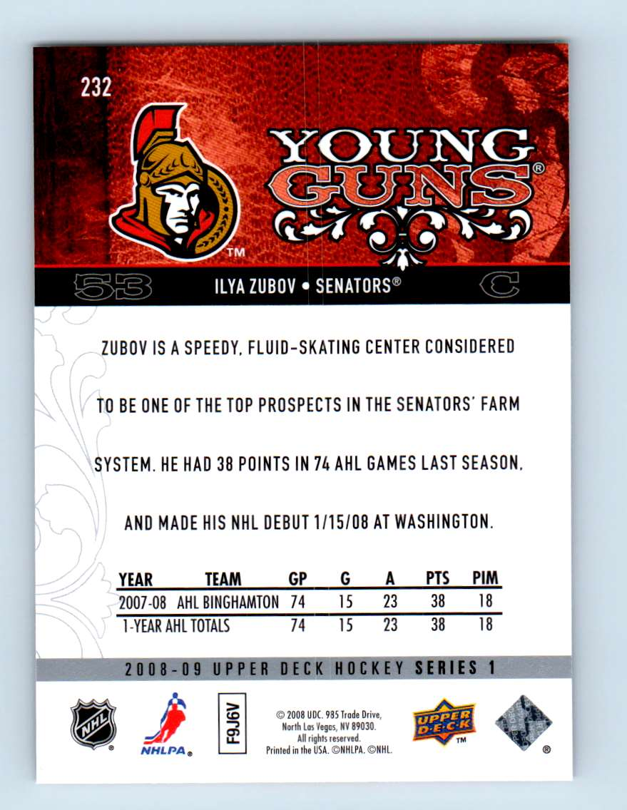 2008-09 Upper Deck Young Guns Ilya Zubov #232 card back image