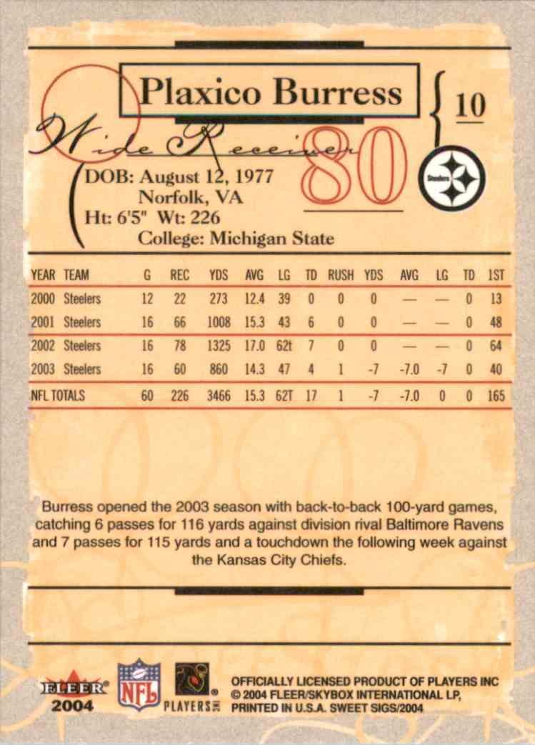 2004 Fleer Sweet Sigs Plaxico Burress #10 card back image