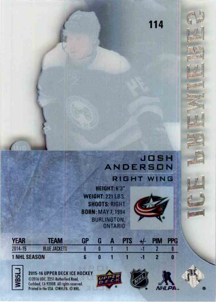 2015-16 Upper Deck Ice Ice Premieres Josh Anderson #114 card back image