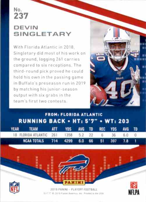 2019 Playoff Devin Singletary RC #237 card back image