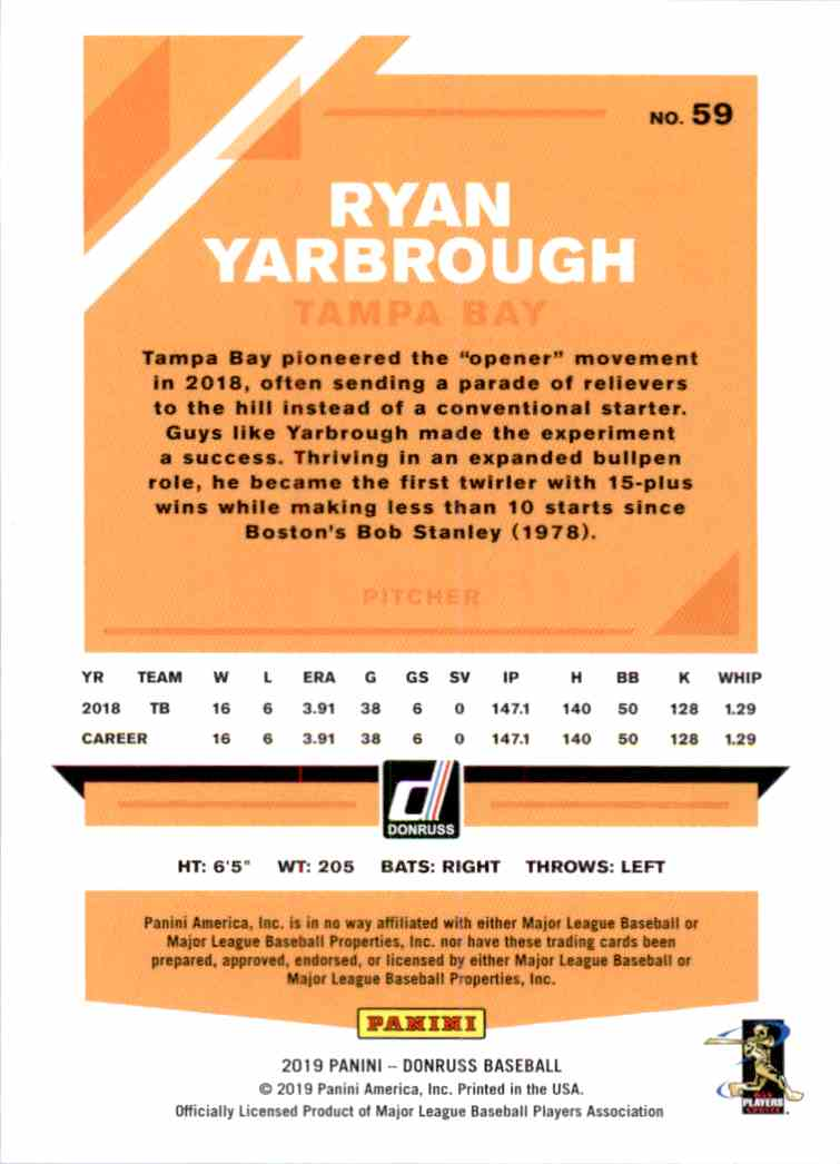 2019 Donruss Ryan Yarbrough #59 card back image