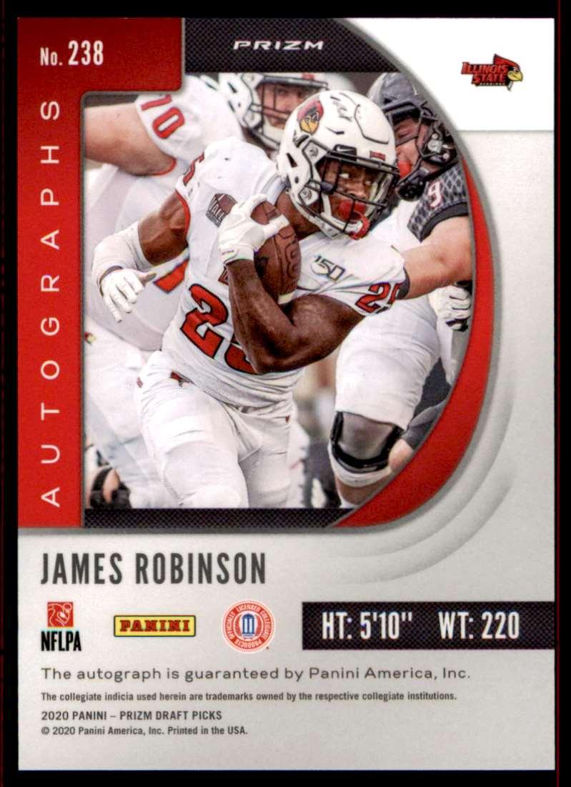 2020 Panini Football Prizm Draft Picks James Robinson / Silver #238 card back image