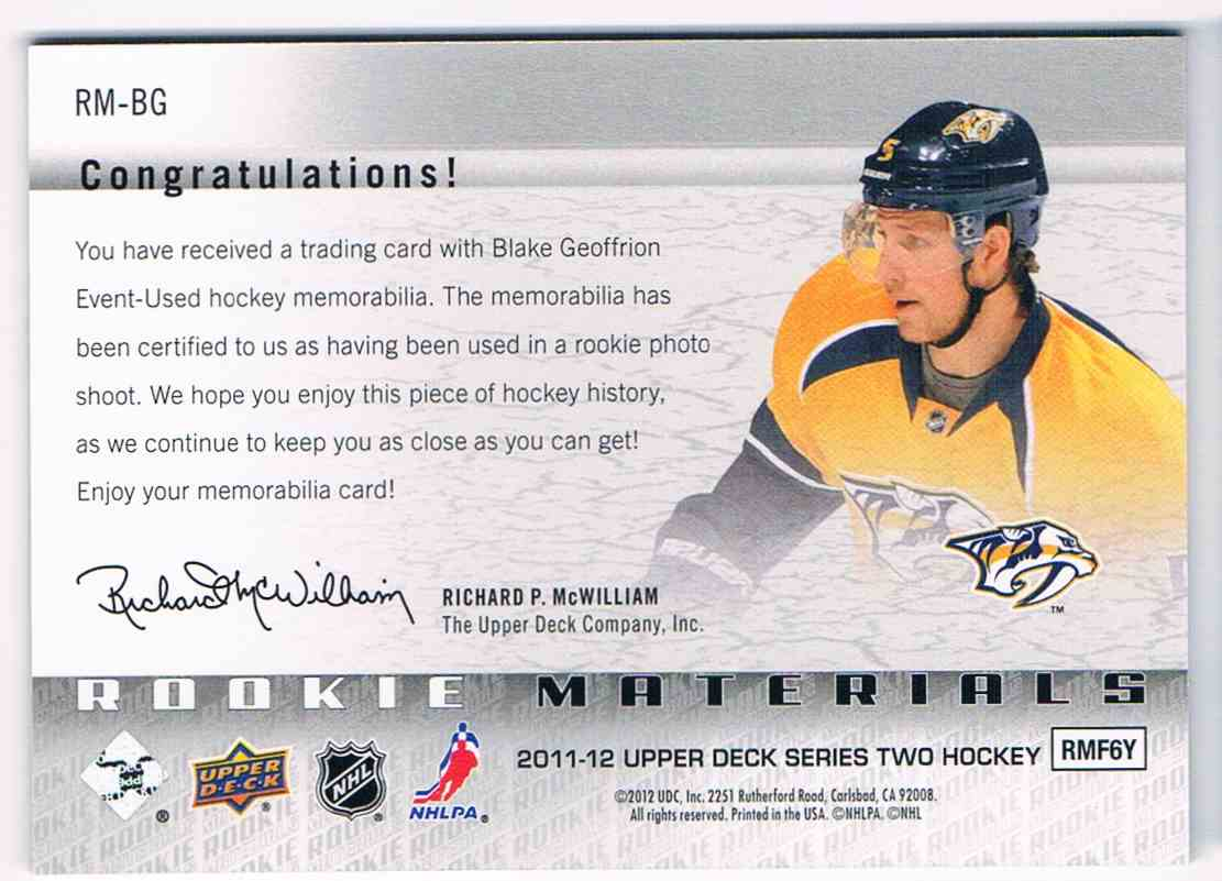 2011-12 Upper Deck Rookie Materials Blake Geoffrion #RM-BG card back image