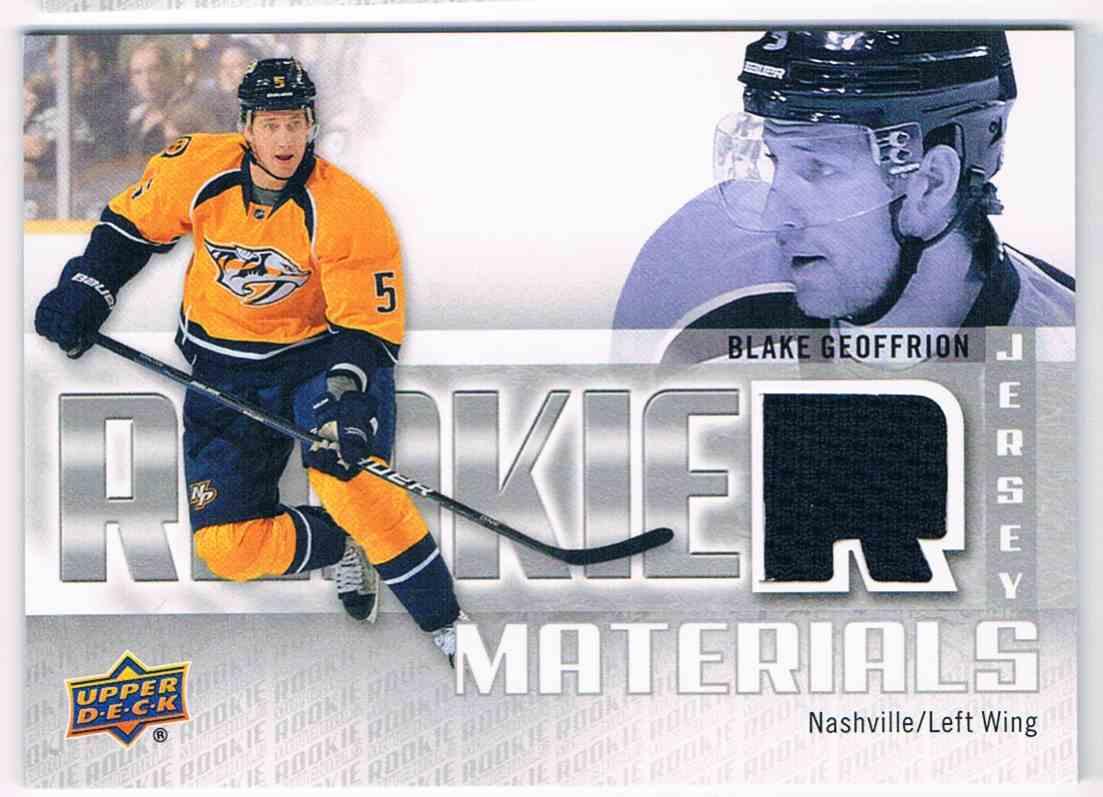 2011-12 Upper Deck Rookie Materials Blake Geoffrion #RM-BG card front image