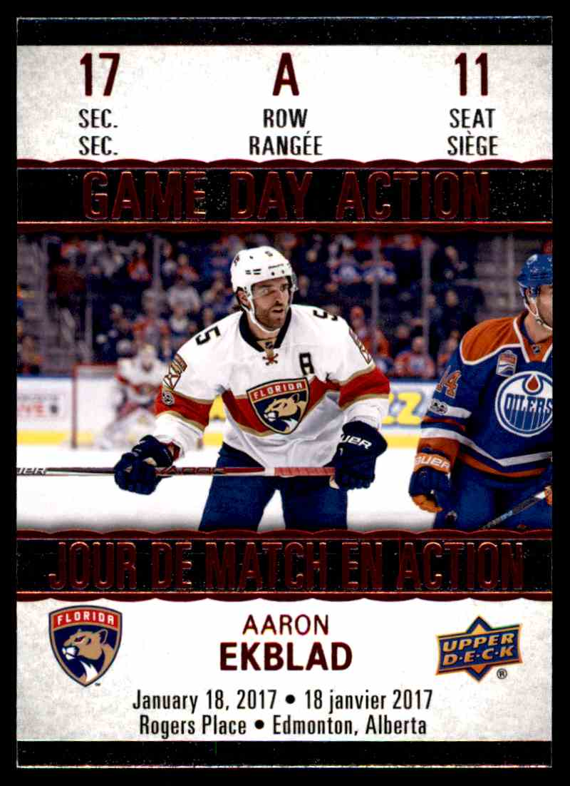 2017-18 Upper Deck Tim Hortons Game Day Action Aaron Ekblad #GDA-11 card front image