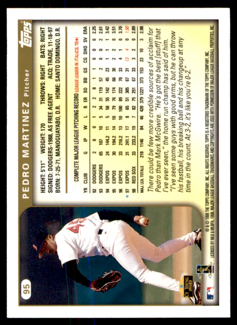 1999 Topps Pedro Martinez #95 card back image
