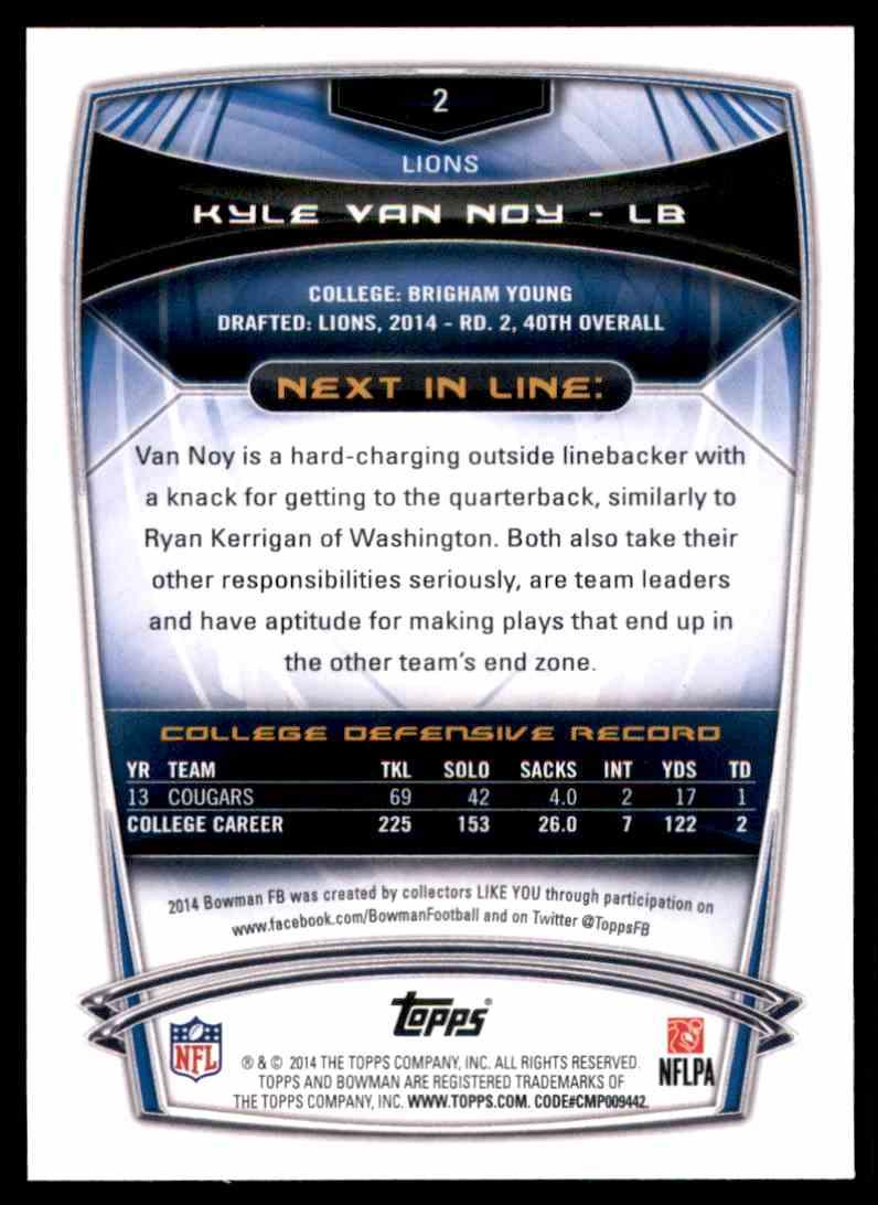 2014 Bowman Kyle Van Noy #2 card back image