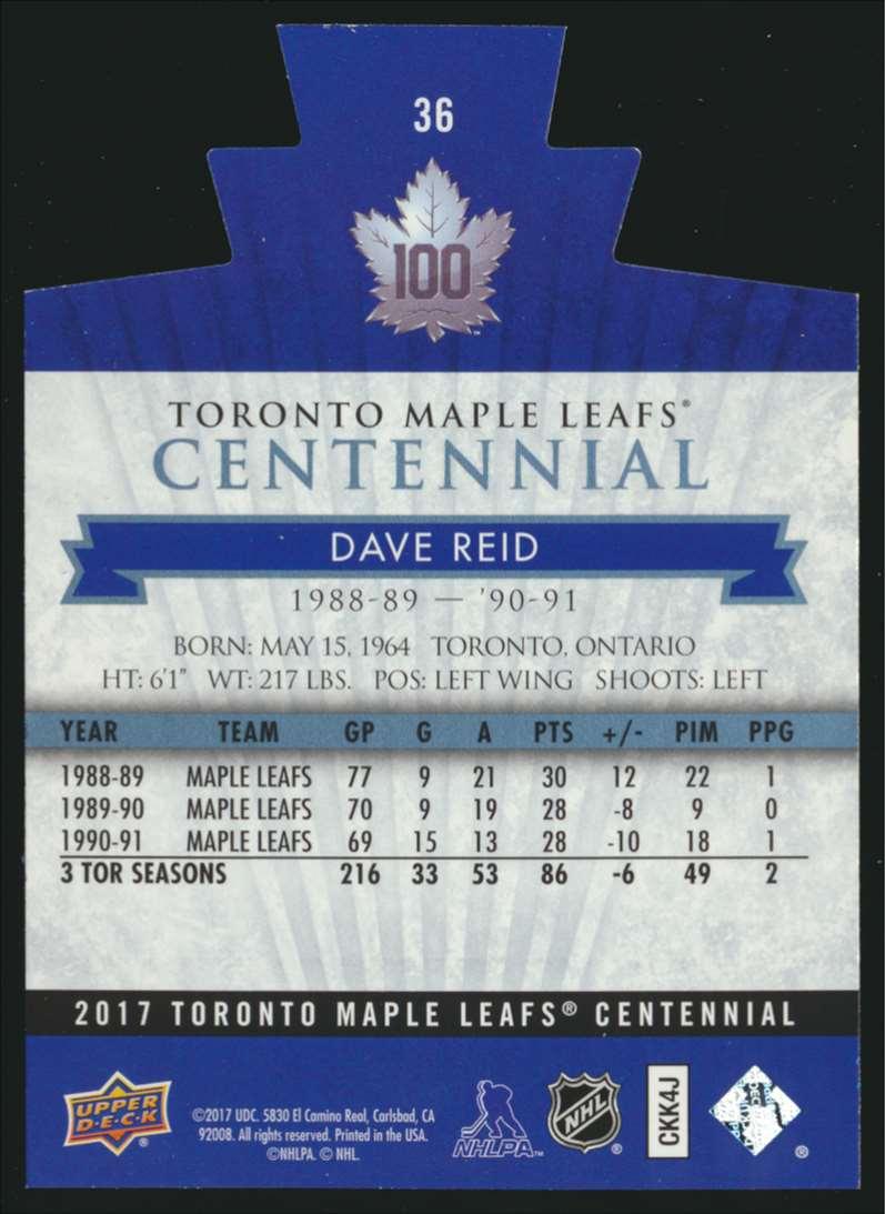 2017-18 UD Maple Leafs Centennial Die Cut Dave Reid #36 card back image