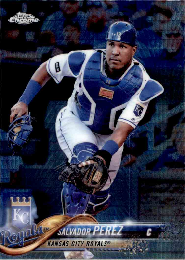 2018 Topps Chrome Prism Refractor Salvador Perez #107 card front image