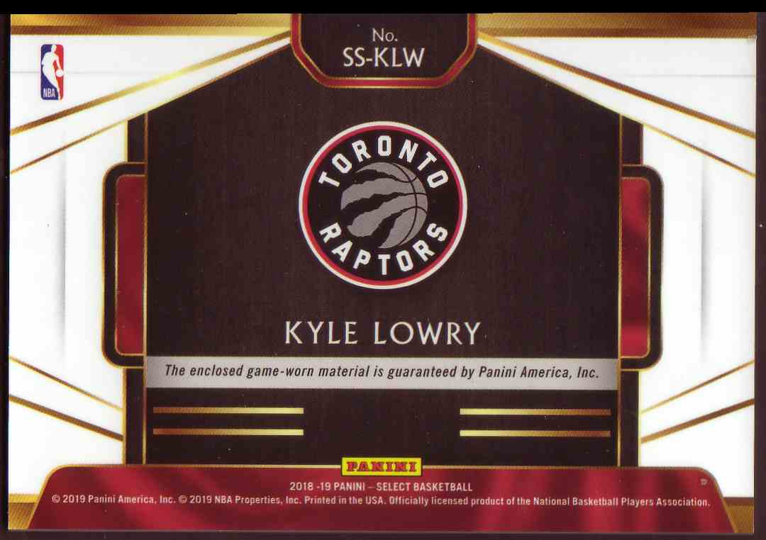2018-19 Panini Select Select Swatches Kyle Lowry #SS-KLW card back image