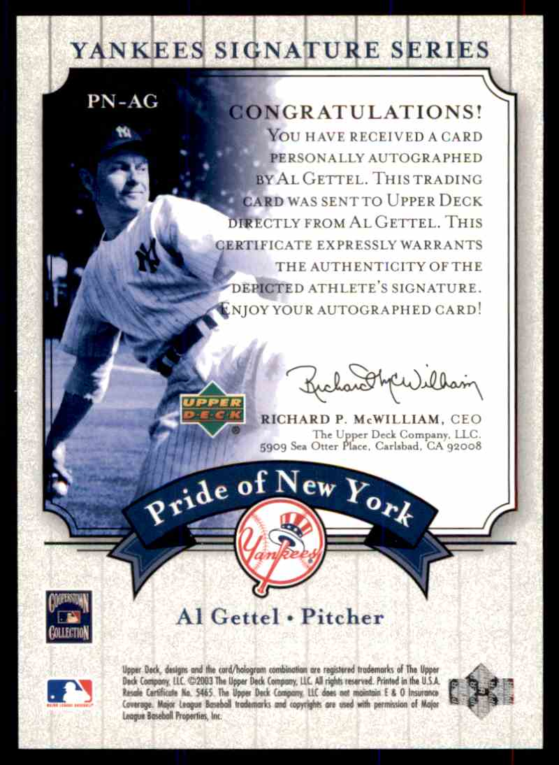 2003 Upper Deck Yankees Siganture Series Al Gettel card back image