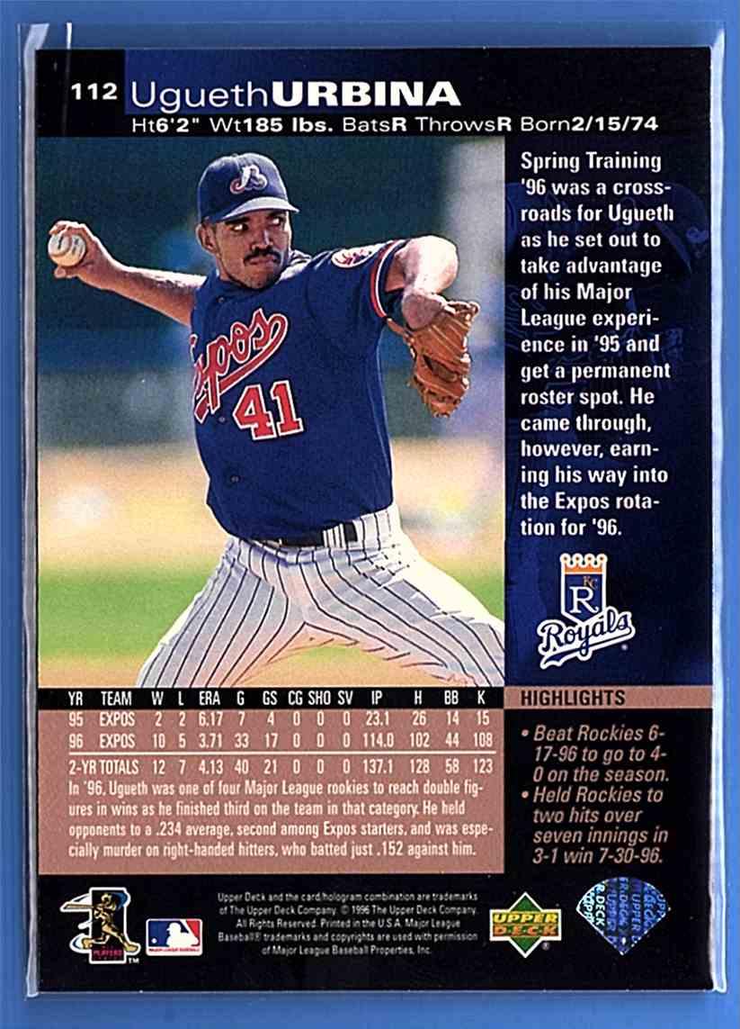 1997 Upper Deck Ugueth Urbina #112 card back image