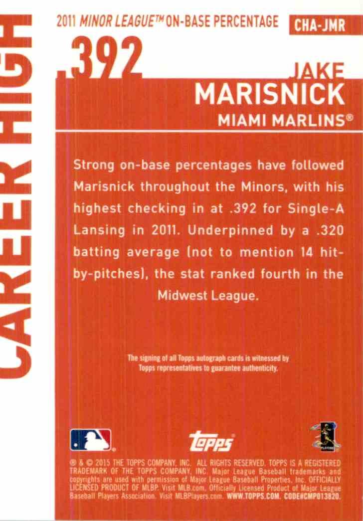 2015 Topps Jake Marisnick #CHA-JMR card back image