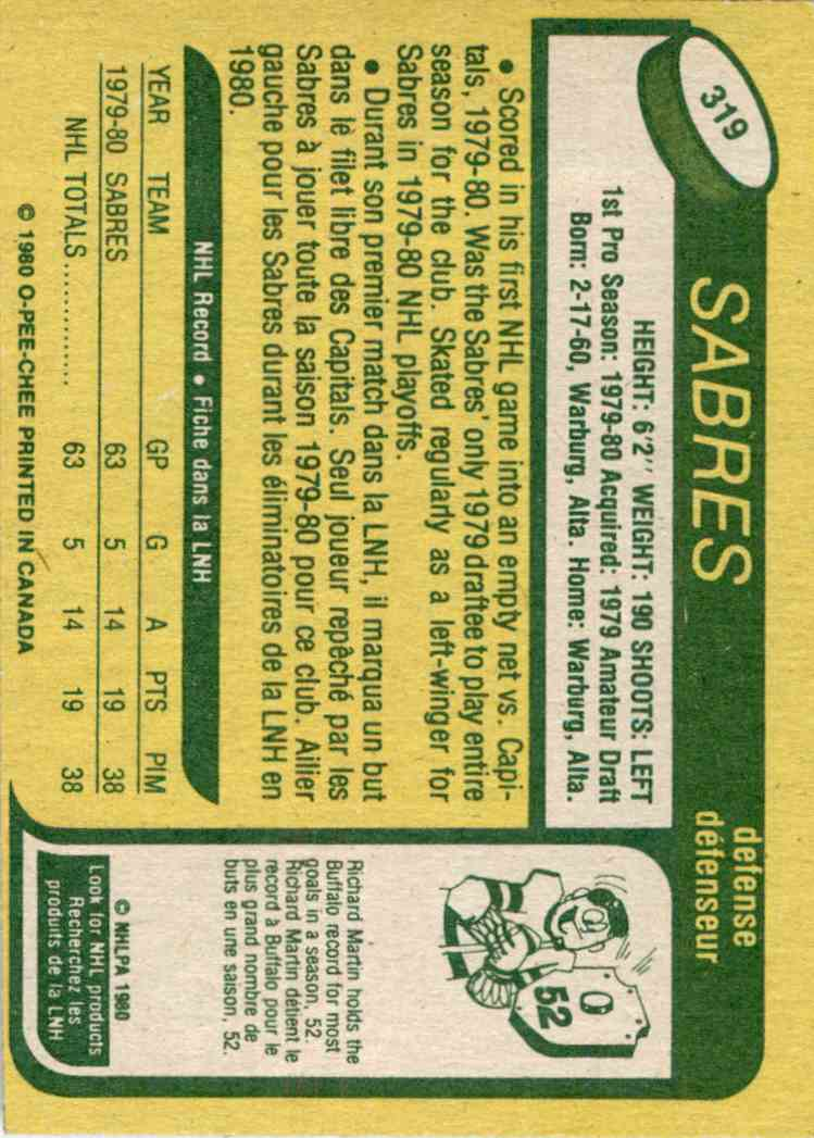 1980-81 O-Pee-Chee Lindy Ruff #319 card back image