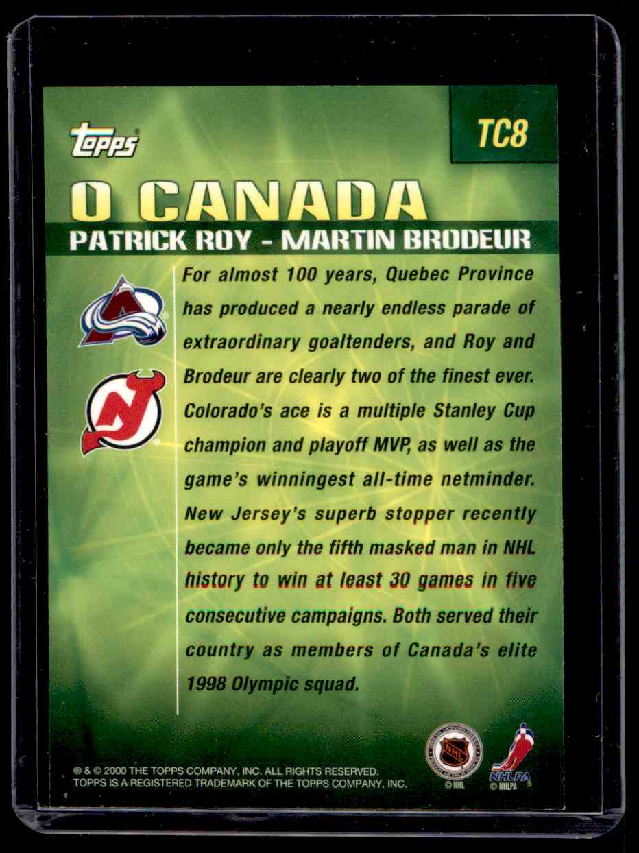 2000-01 Topps Combos Patrick Roy Martin Brodeur #TC8 card back image