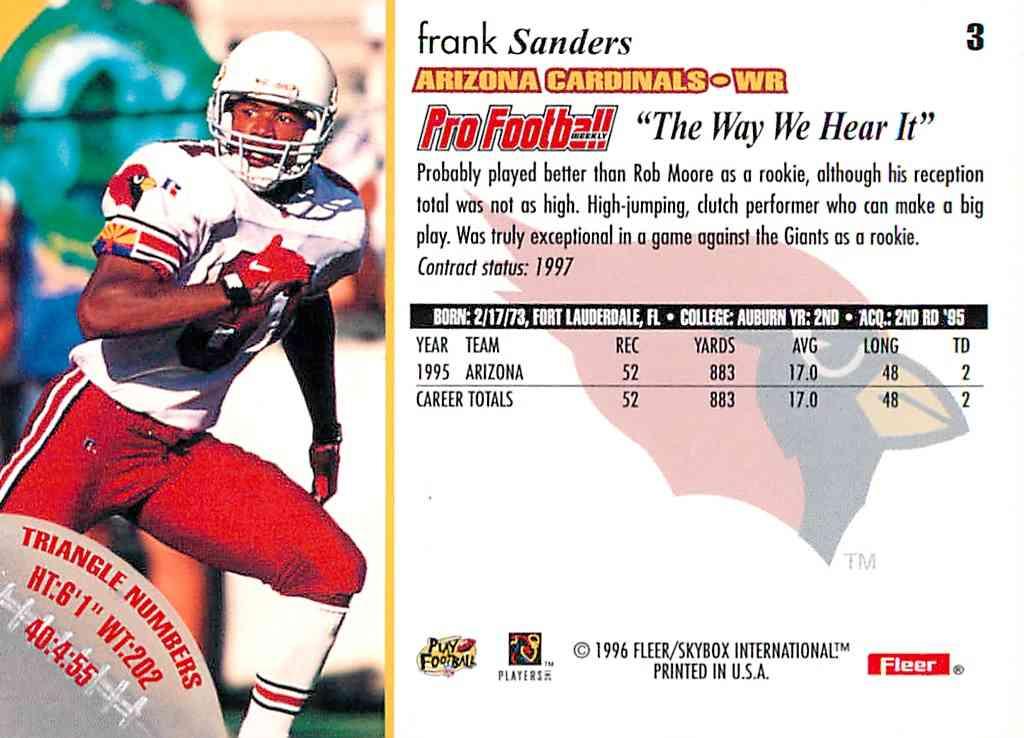 1996 Fleer Frank Sanders #3 card back image