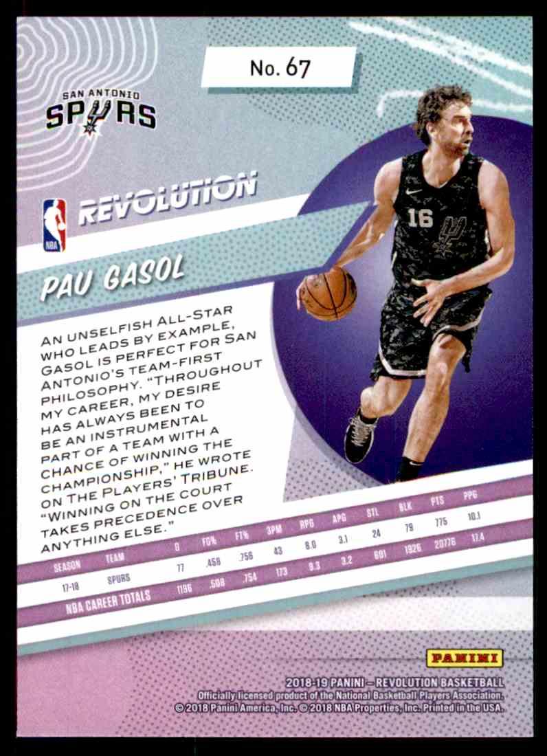 2018-19 Panini Revolution Base Pau Gasol #67 card back image