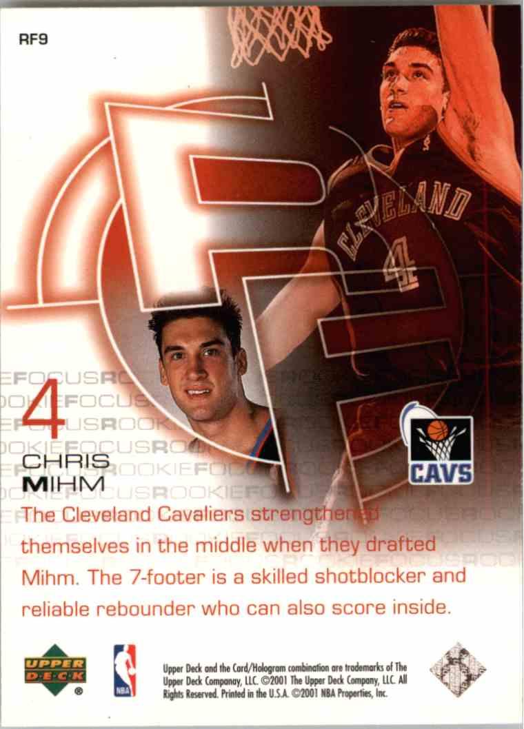 2001-02 Upper Deck Chris Mihm #RF9 card back image