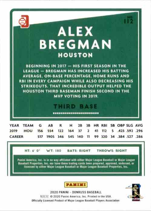 2020 Donruss Variations Alex Bregman #112 card back image