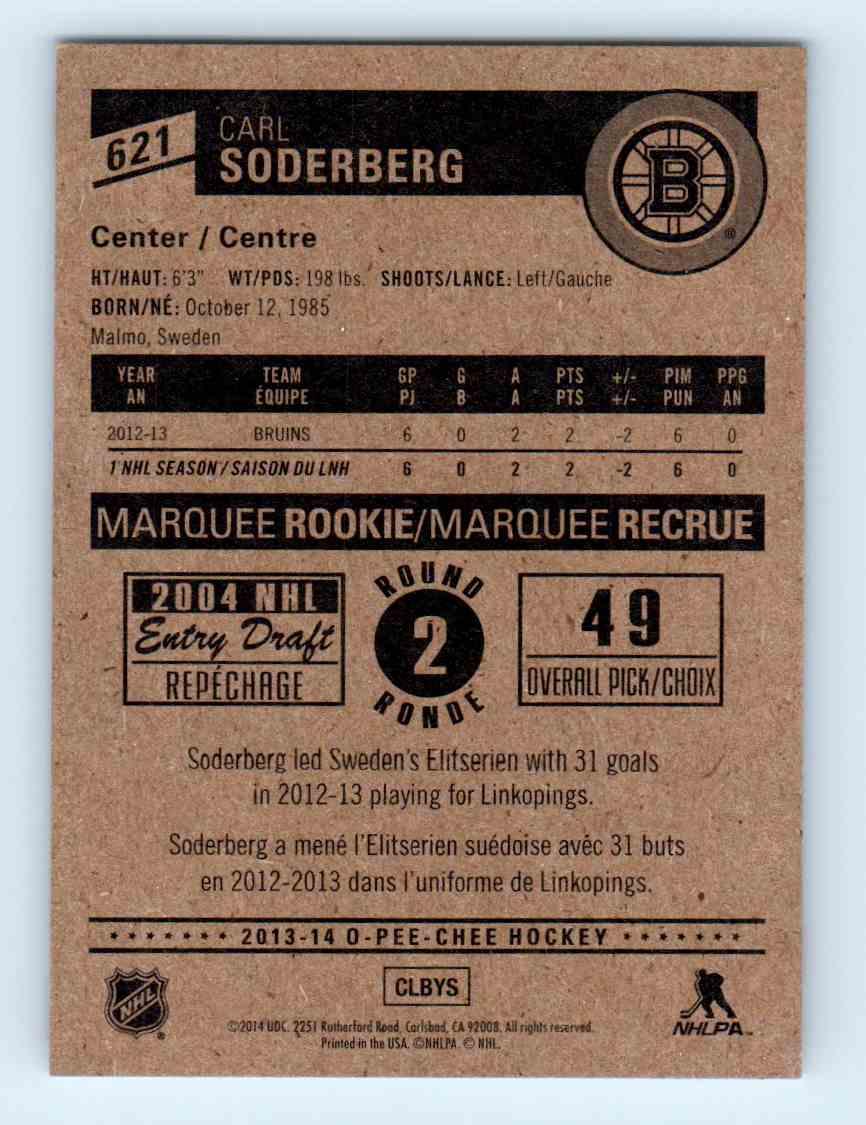 2013-14 O-Pee-Chee Marquee Rookies Carl Soderberg #621 card back image