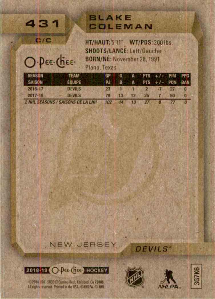 2018-19 O-Pee-Chee Blake Coleman #431 card back image