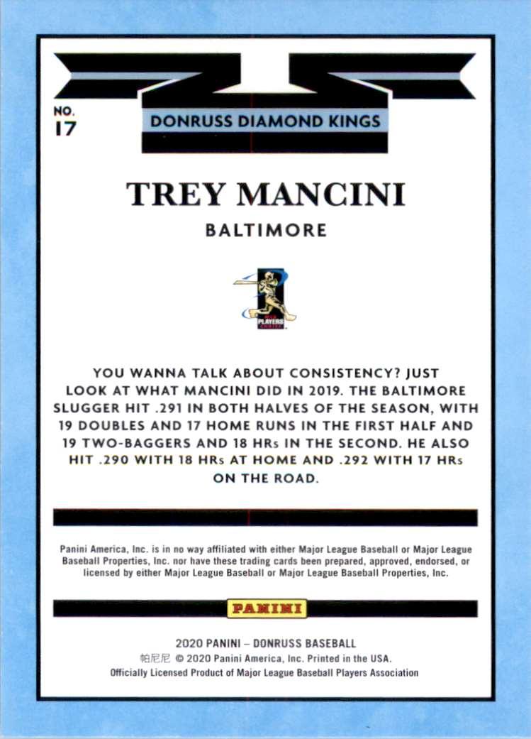 2020 Donruss Trey Mancini Dk #17 card back image