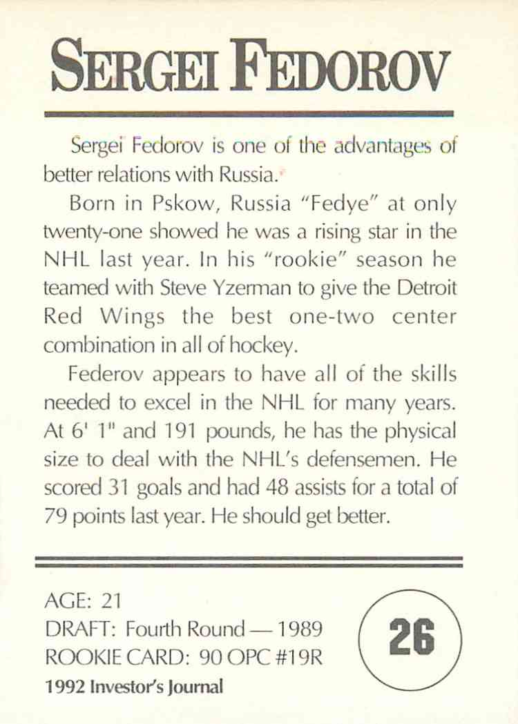 1992-93 Investor's Journal Sergei Fedorov #26 card back image