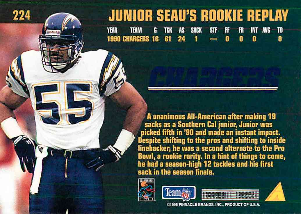 1995 Pinnacle Club Collection Junior Seau #224 card back image