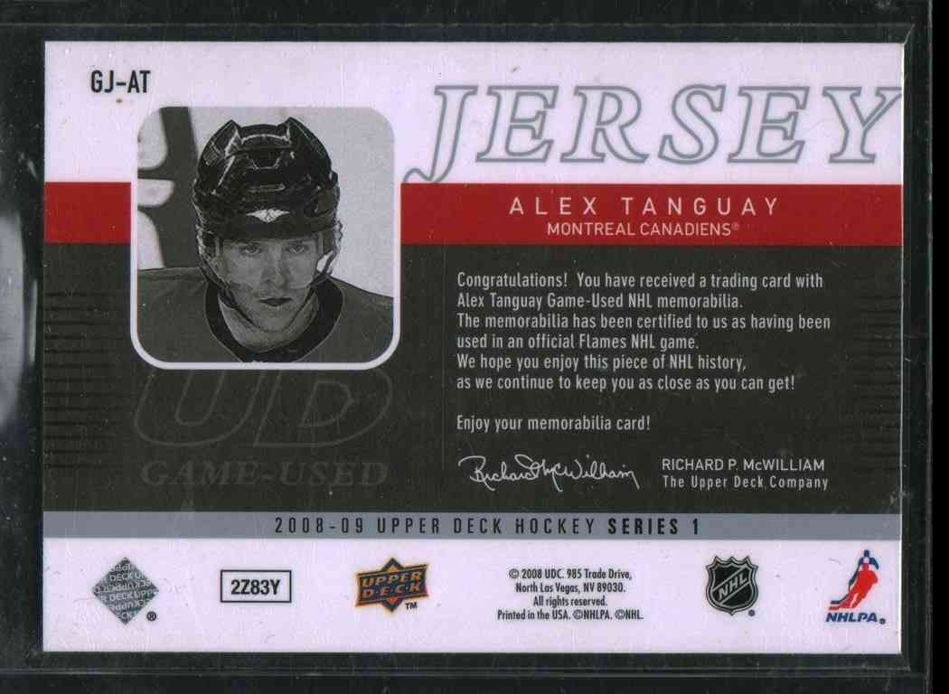 2008-09 Upper Deck Alex Tanguay #GJ-AT card back image