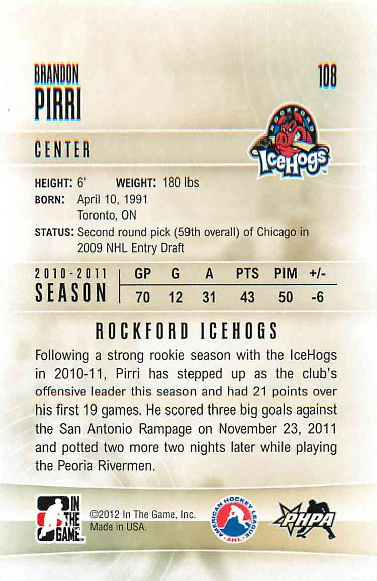 2011-12 In The Game Heroes And Prospects Brandon Pirri #108 card back image