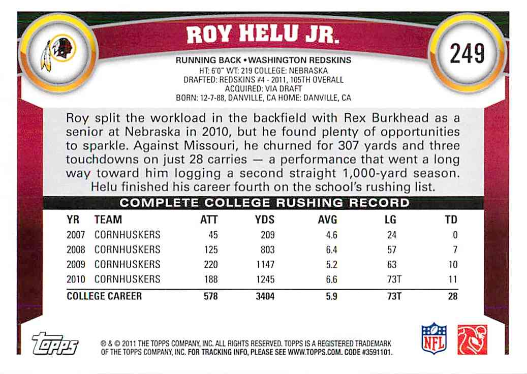 2011 Topps Roy Helu JR. #249 card back image