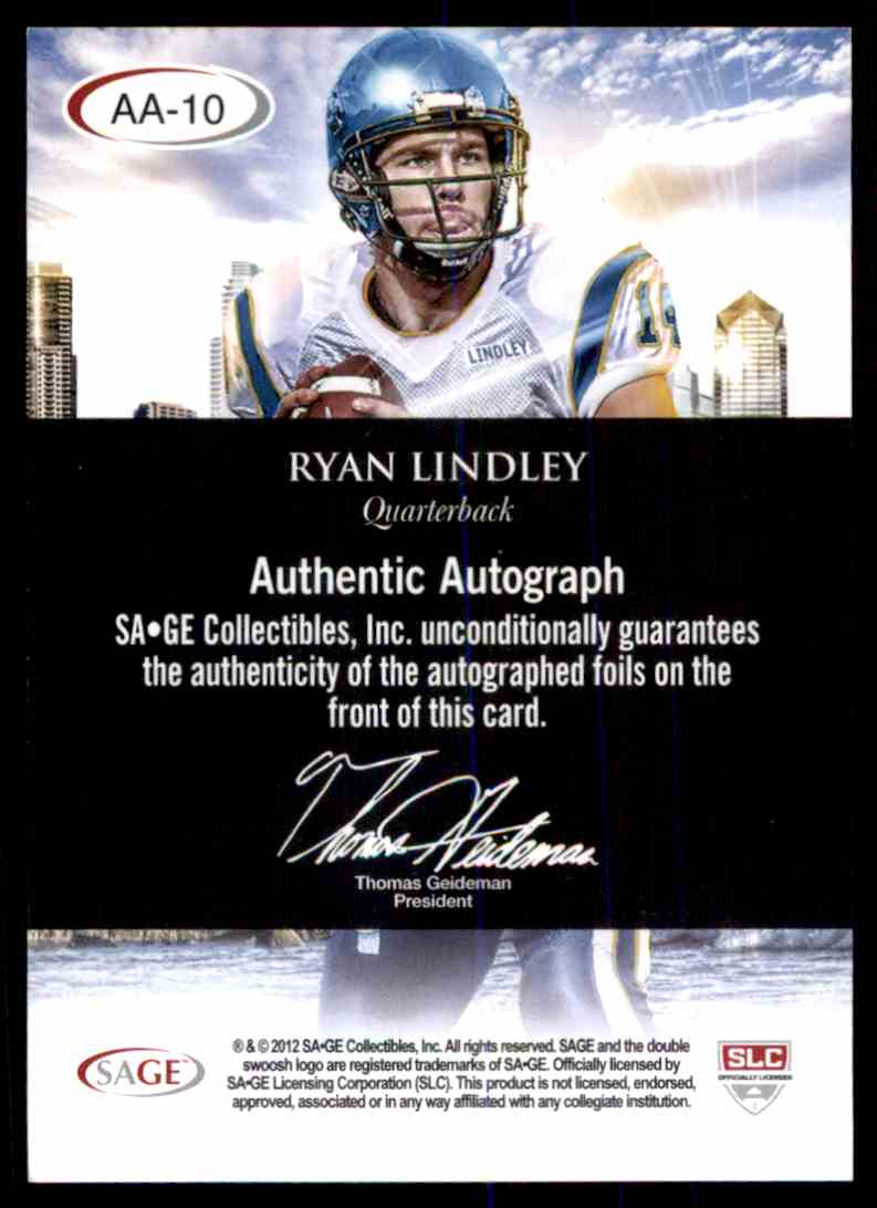 2012 Sage Hit Ryan Lindley card back image