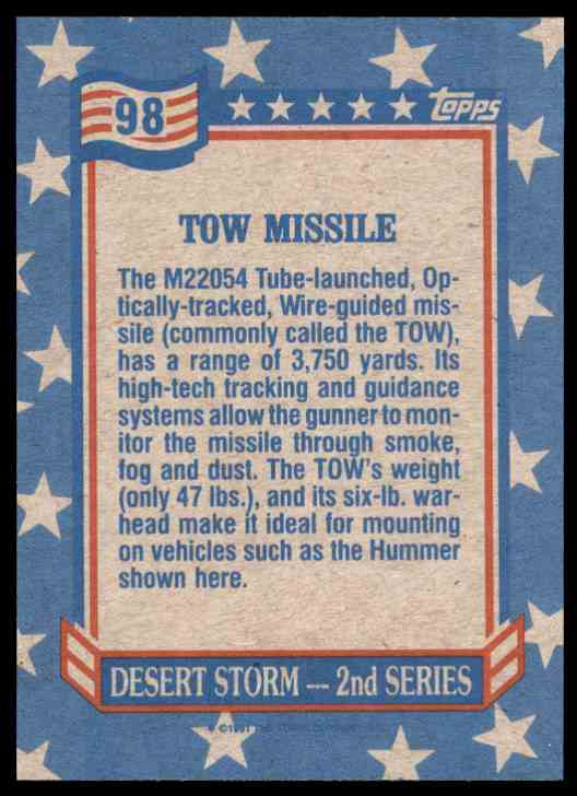 1991 Desert Storm Topps Tow Missile #98 card back image