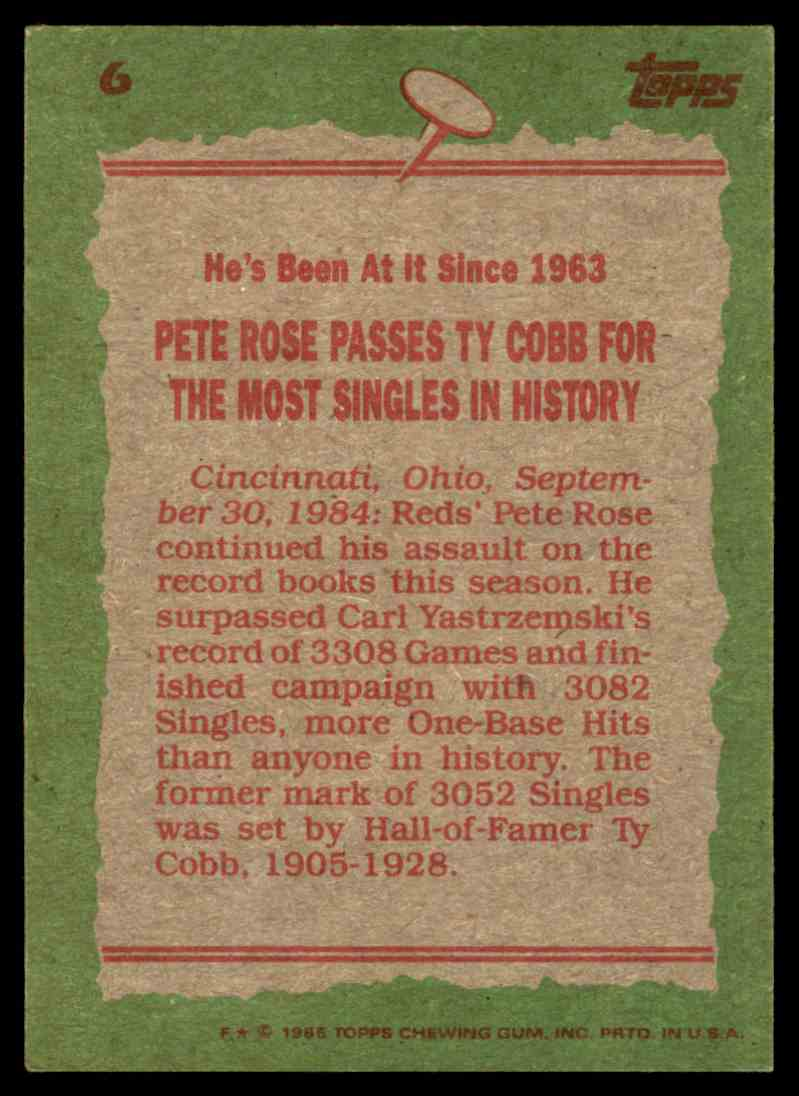 1985 Topps Record Breaker Pete Rose #6 card back image