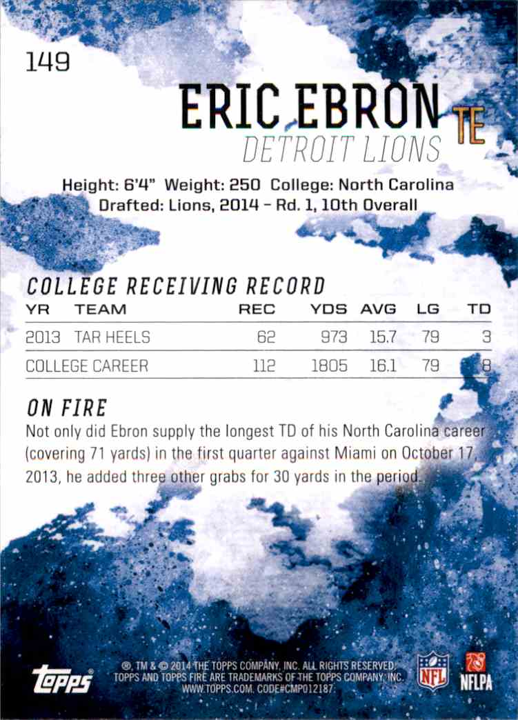 2014 Topps Fire Eric Ebron RC #149 card back image